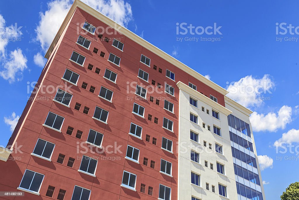 Multi colored high rise hotel building stock photo