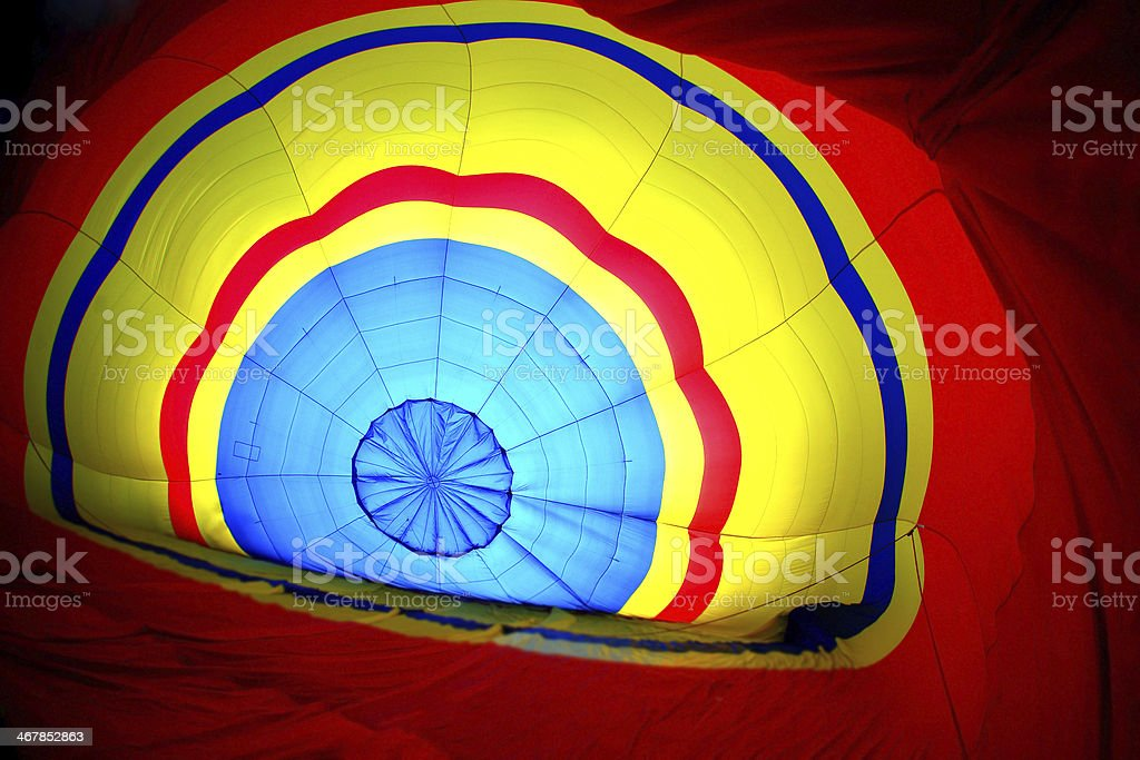 Multi colored hot air balloon view from inside royalty-free stock photo