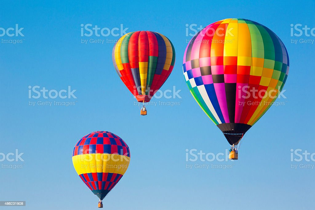 Multi colored hot air balloons at a balloon festival stock photo