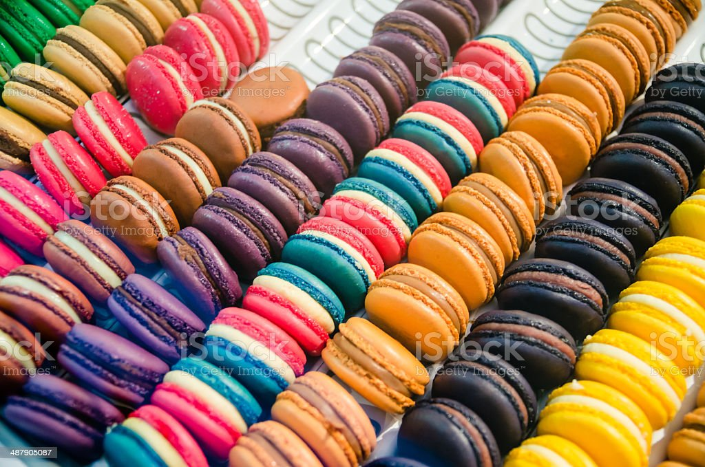 Multi Colored Macarons From France stock photo