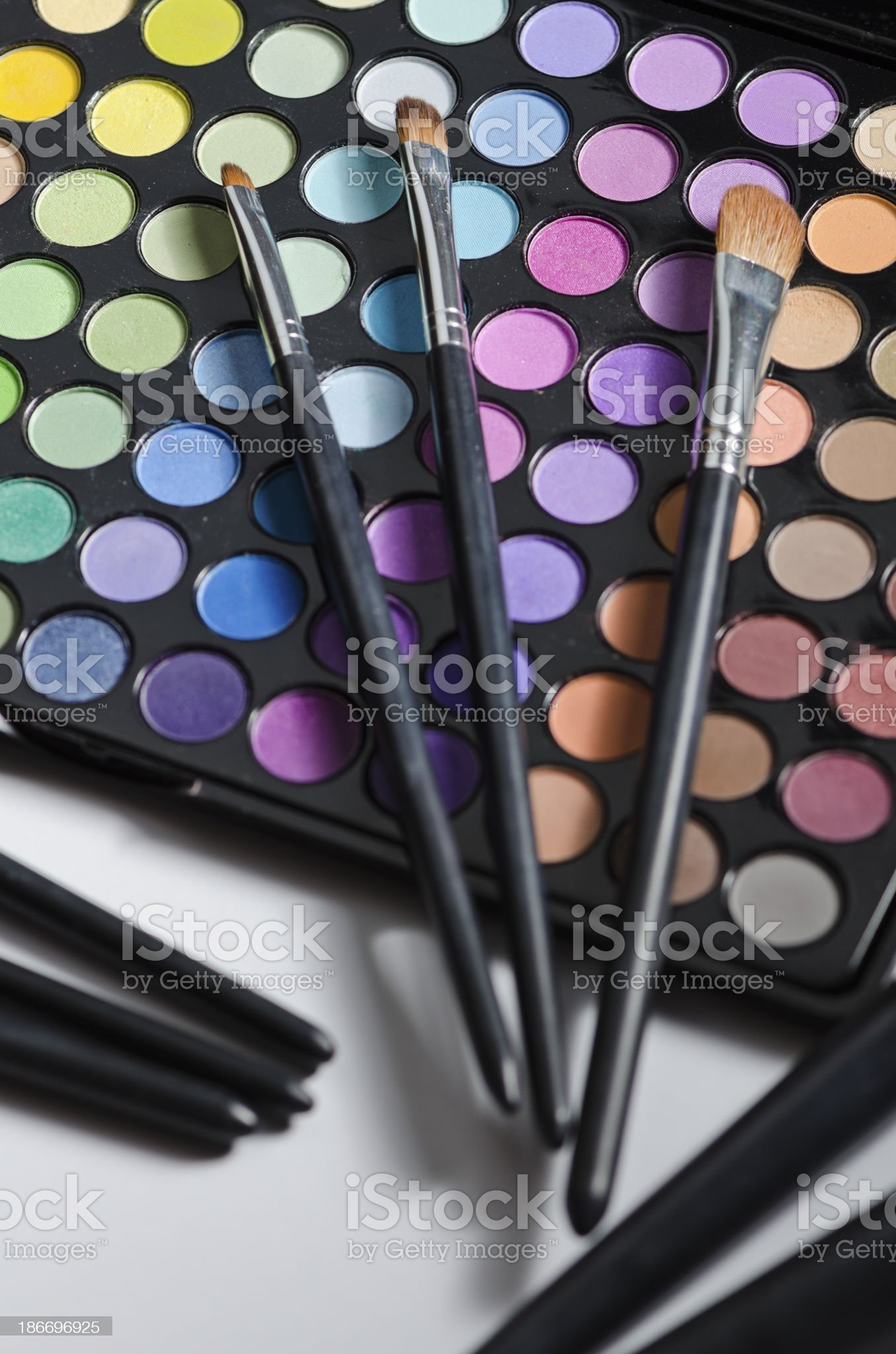 Multi colored make-up and brushes royalty-free stock photo