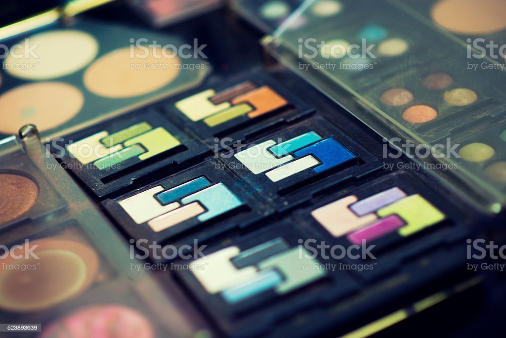 Multi Colored Make-up Palette Profesional Women's Cosmetics stock photo