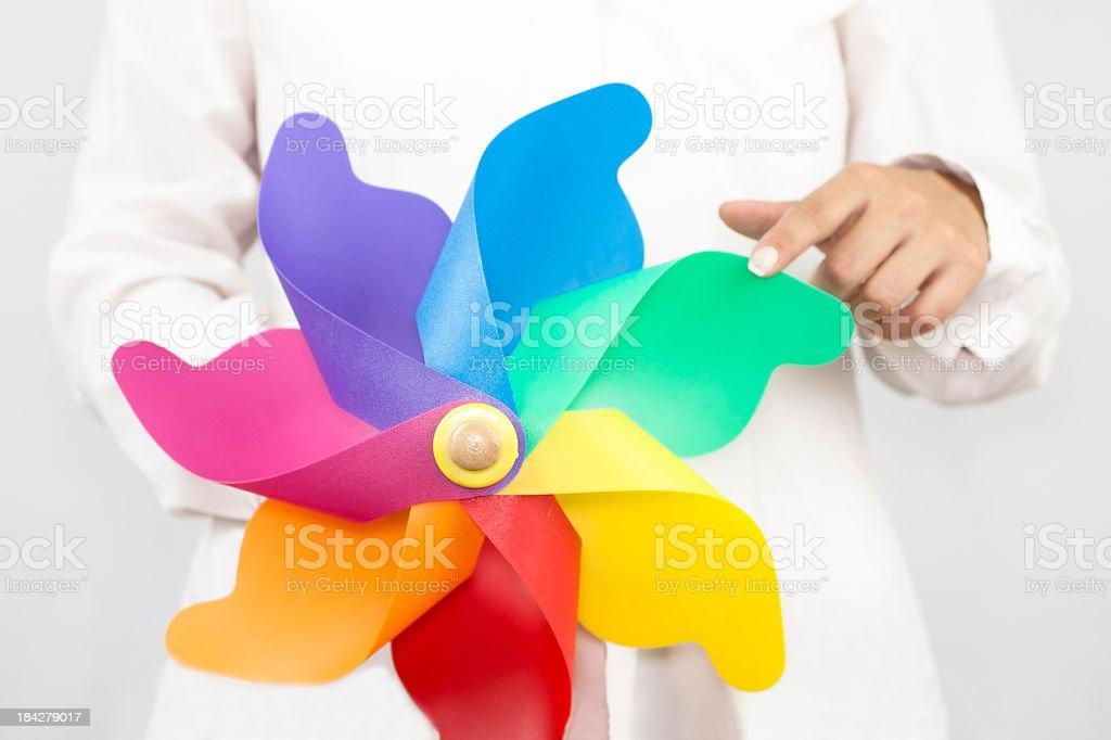 Multi colored pinwheel royalty-free stock photo