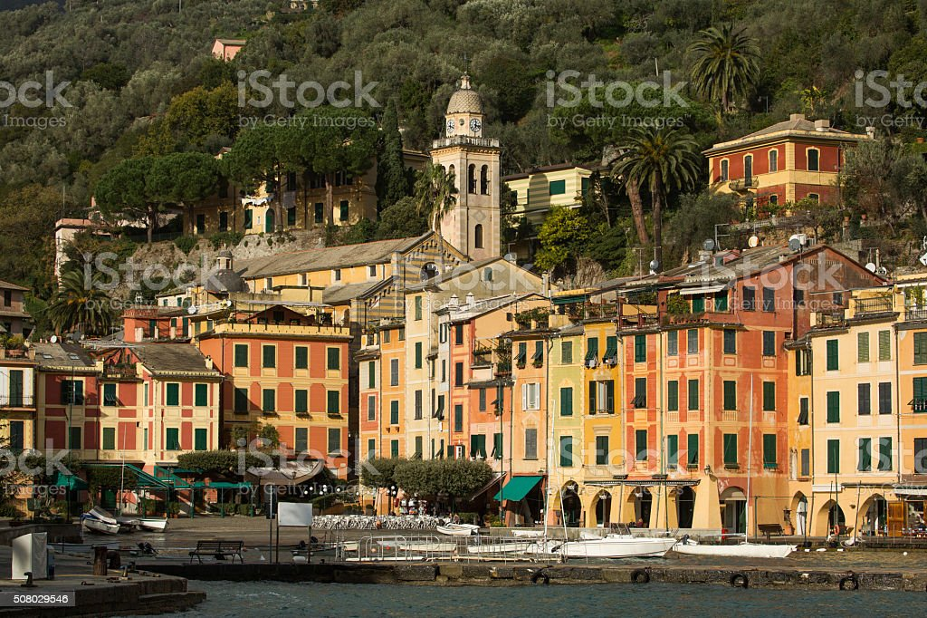 Multi Colored Portofino's houses stock photo