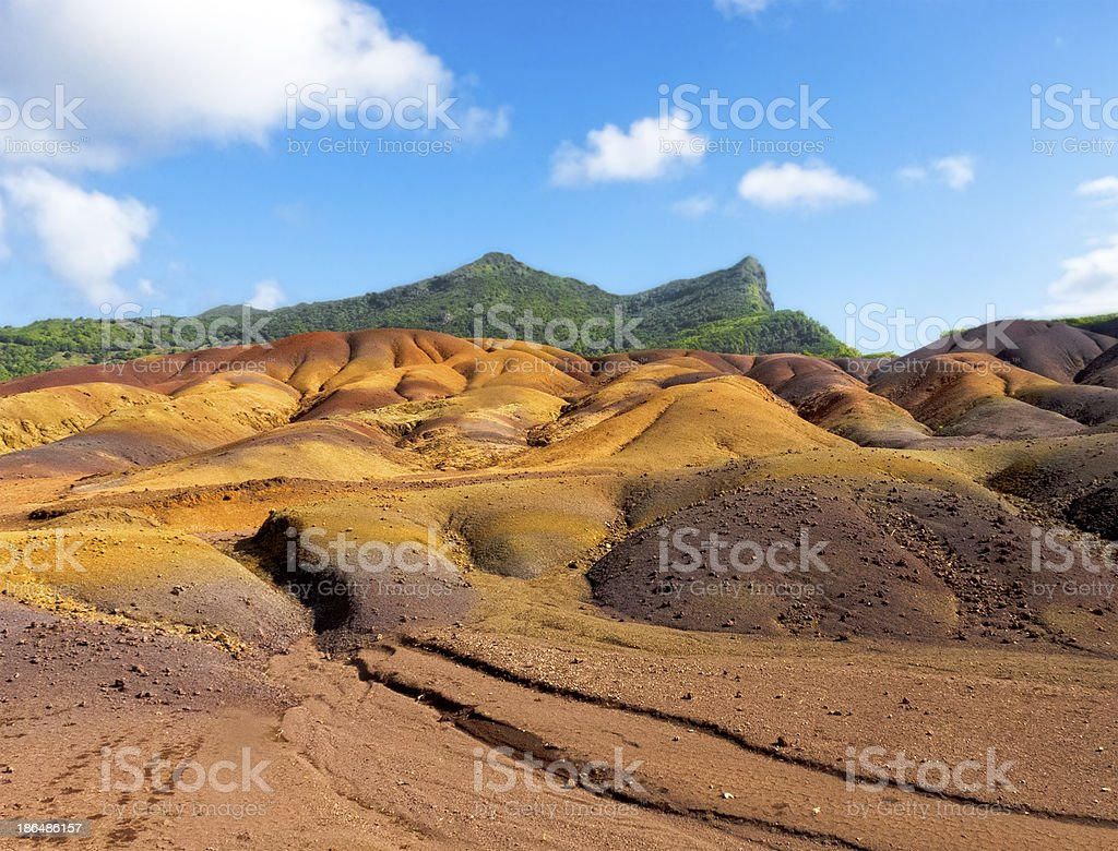 Multi Colored Sand Dunes of Chamarel royalty-free stock photo