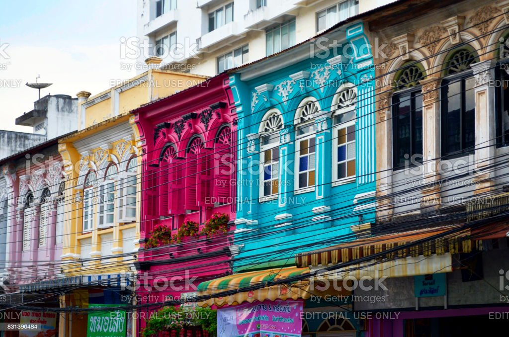 Multi colored sino-portuguese frontage in Phuket Old Town stock photo