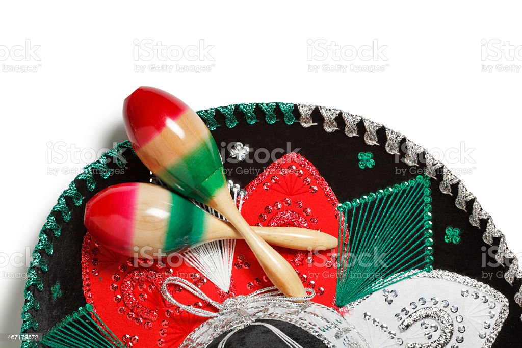 Multi Colored Sombrero With Maracas Isolated On White Background stock photo