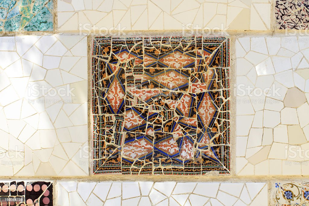 Multi colored square Spanish tiles royalty-free stock photo