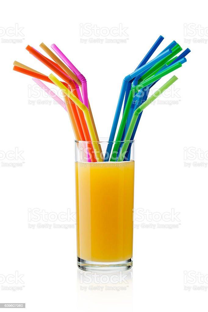 Multi colored straws stock photo