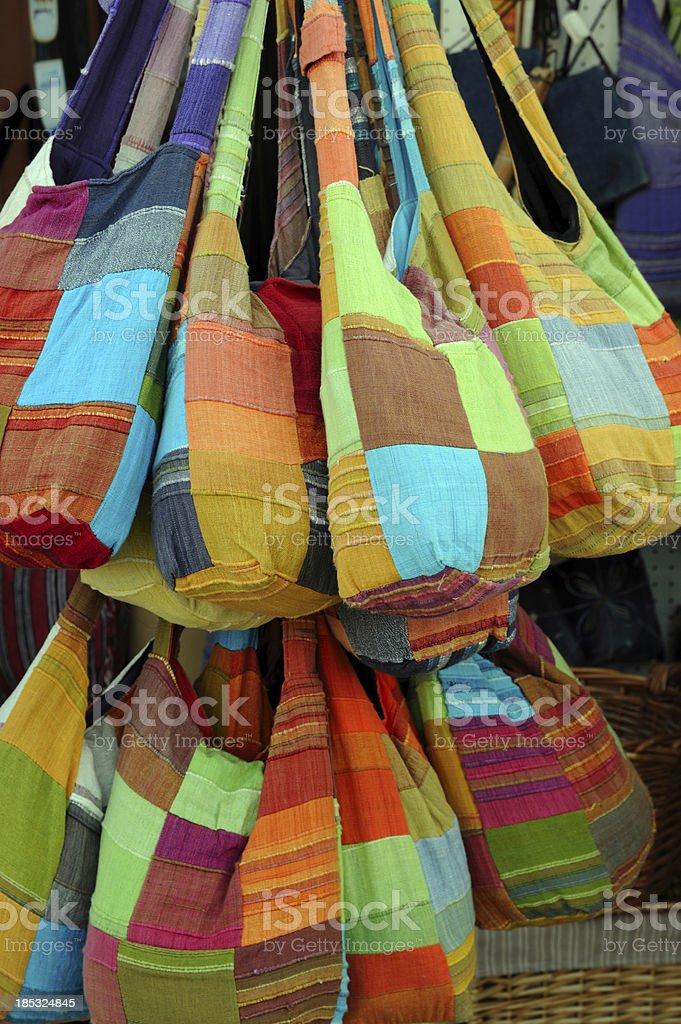 Multi Colored Textile Handbags stock photo