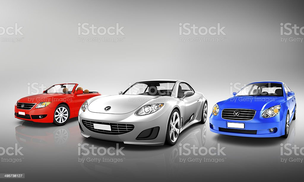 Multi Colored Three Dimensional Modern Cars stock photo