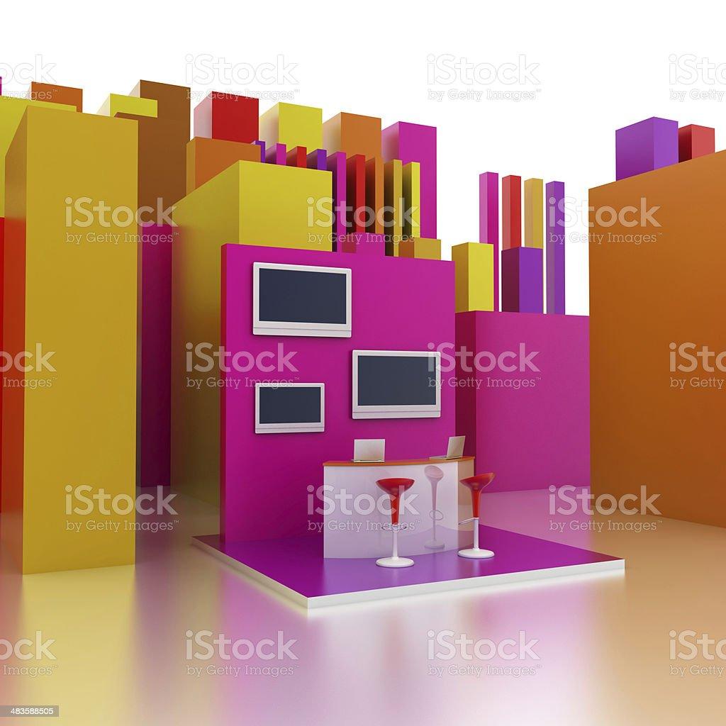 Multi colored trade stand stock photo