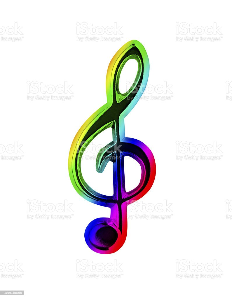 Multi Colored Treble Clef stock photo