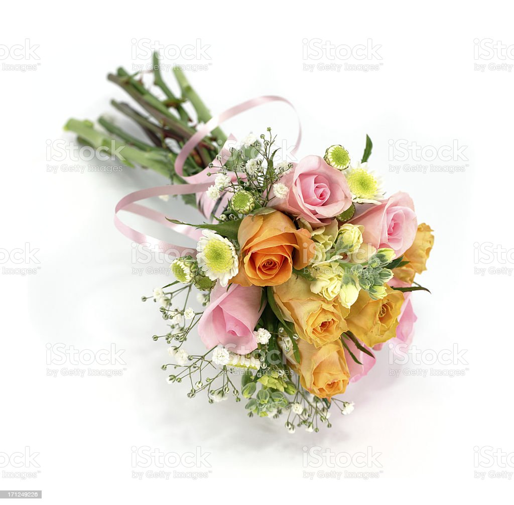 Multi colored wedding rose bouquet or posy isolated on white royalty-free stock photo