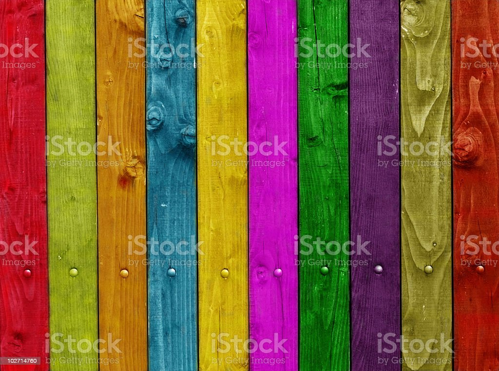 Multi colored wooden plank wall royalty-free stock photo