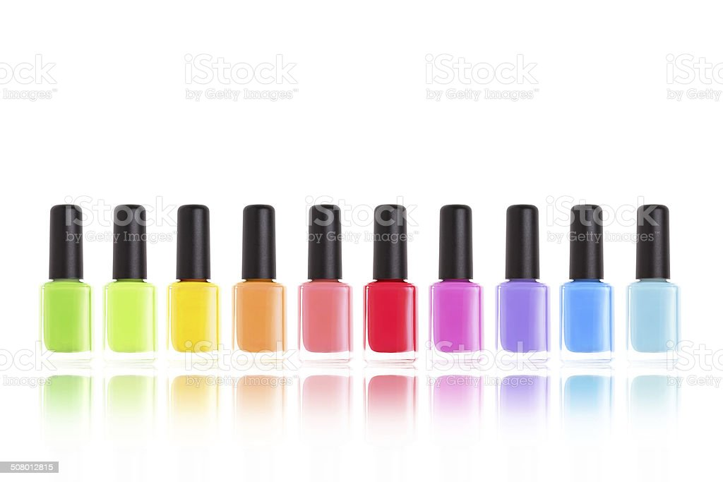 Multi colors nail polish. Rainbow of cosmetics. stock photo