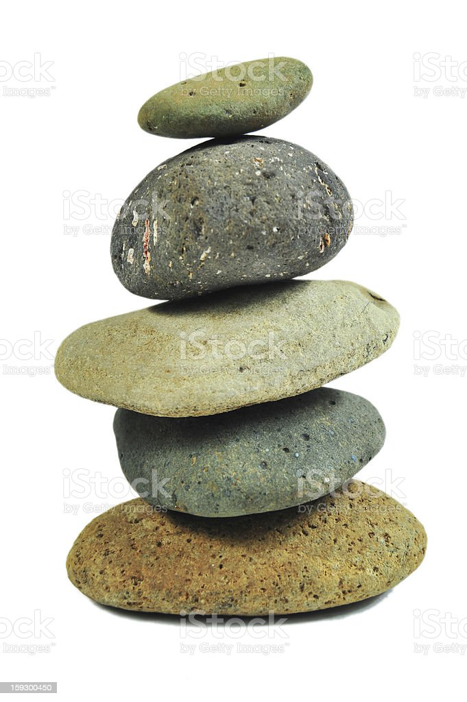 multi colour Balancing Stones (Isolated on White Background) royalty-free stock photo