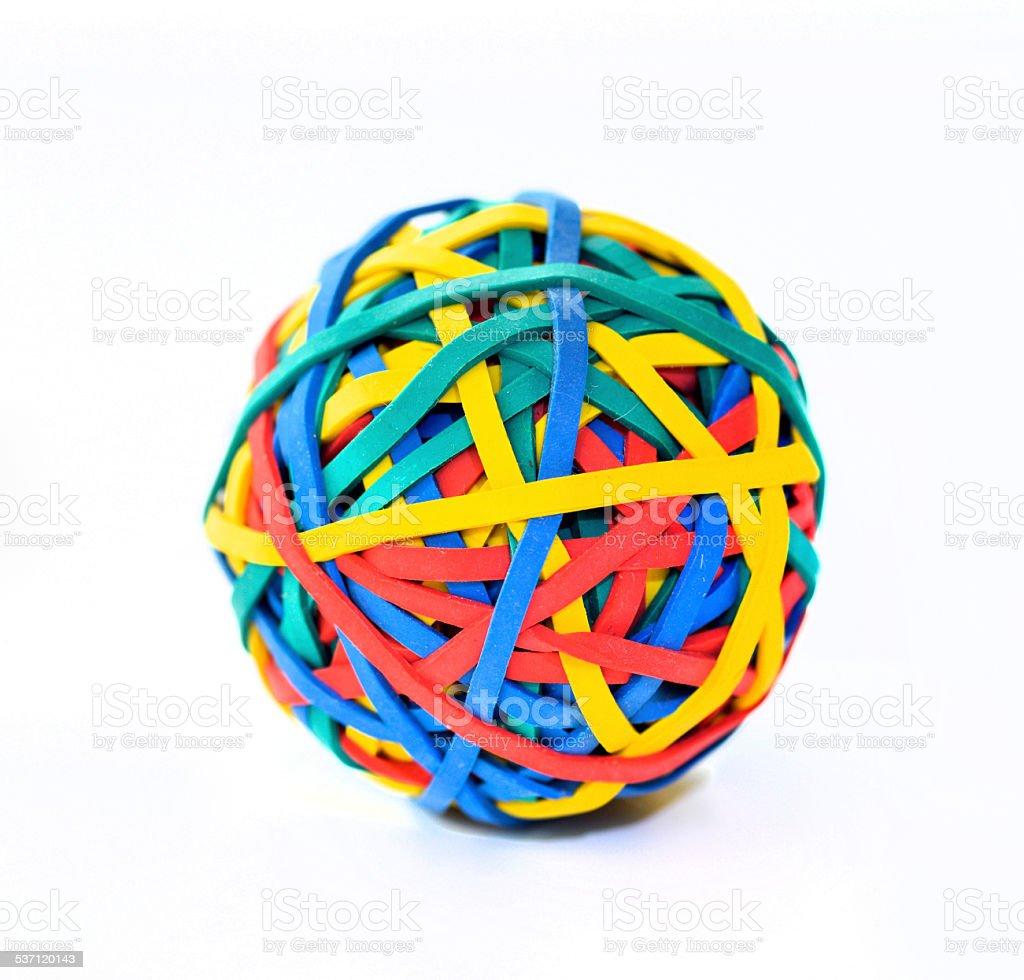 Multi coloured elastic band ball stock photo