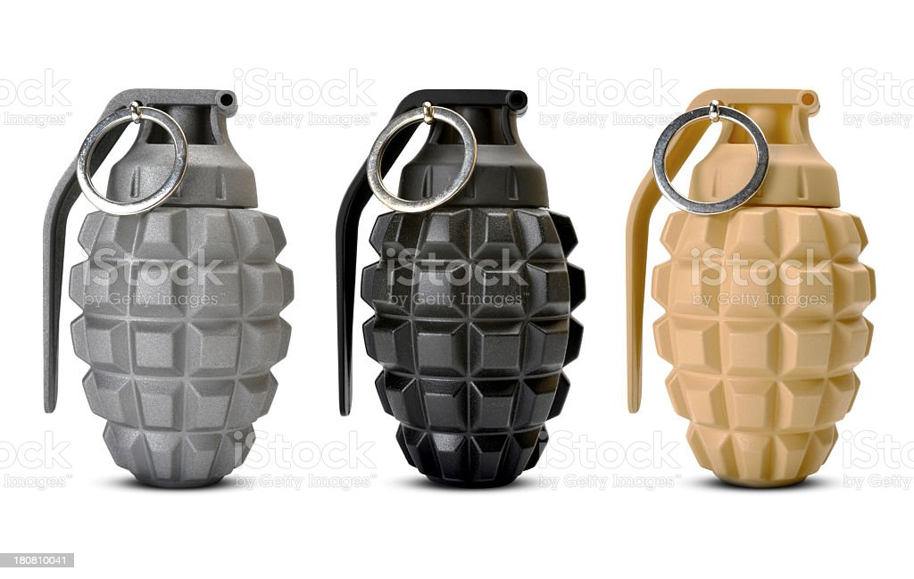 multi coloured hand grenades stock photo