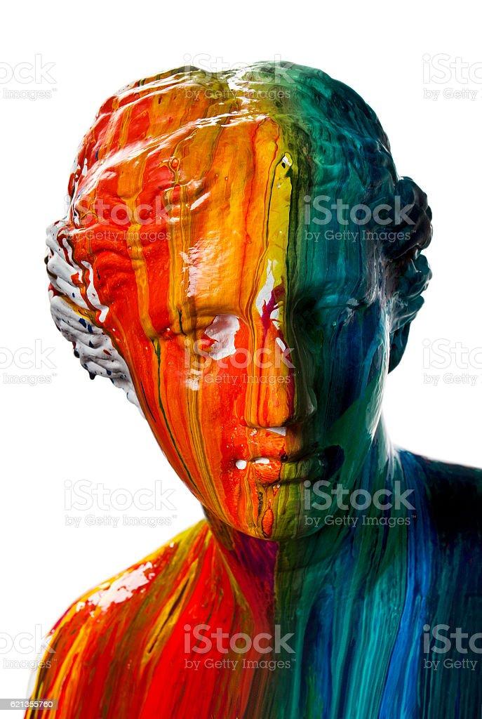 Multi coloured head of Venus stock photo