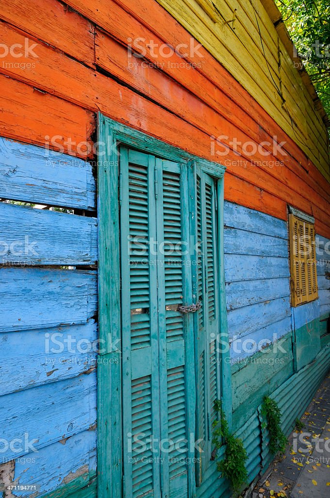 Multi Coloured Wall in La Boca, Buenos Aires royalty-free stock photo