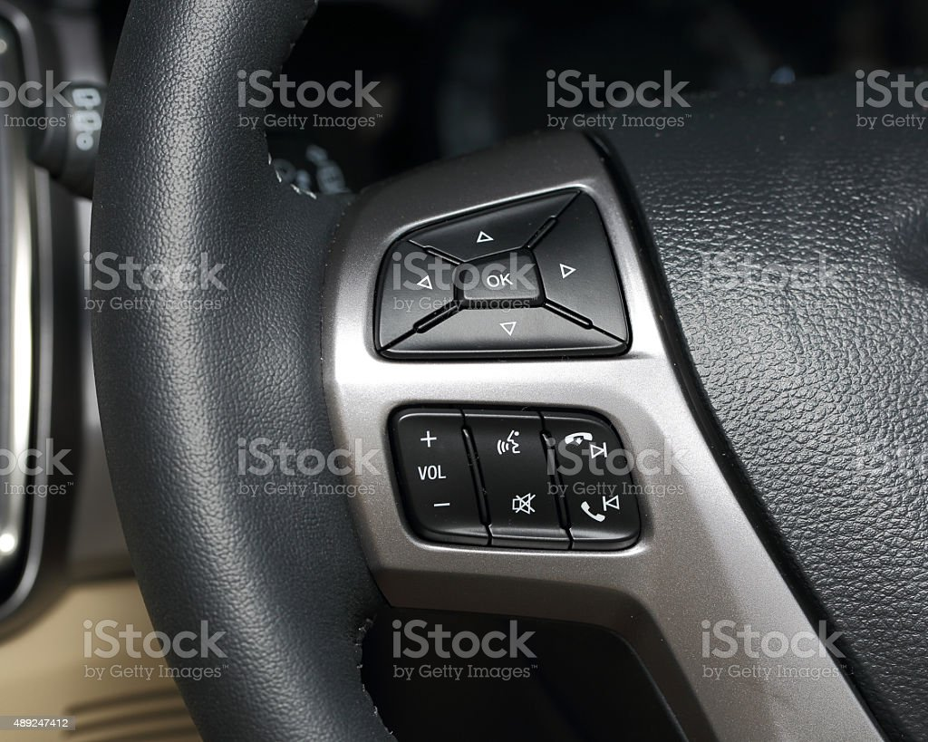 multi control buttons on the steering wheel stock photo