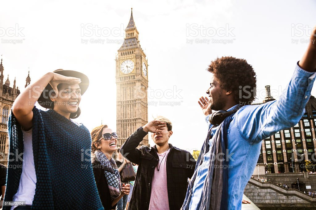Multi cultural group of friends hanging out in Central London stock photo