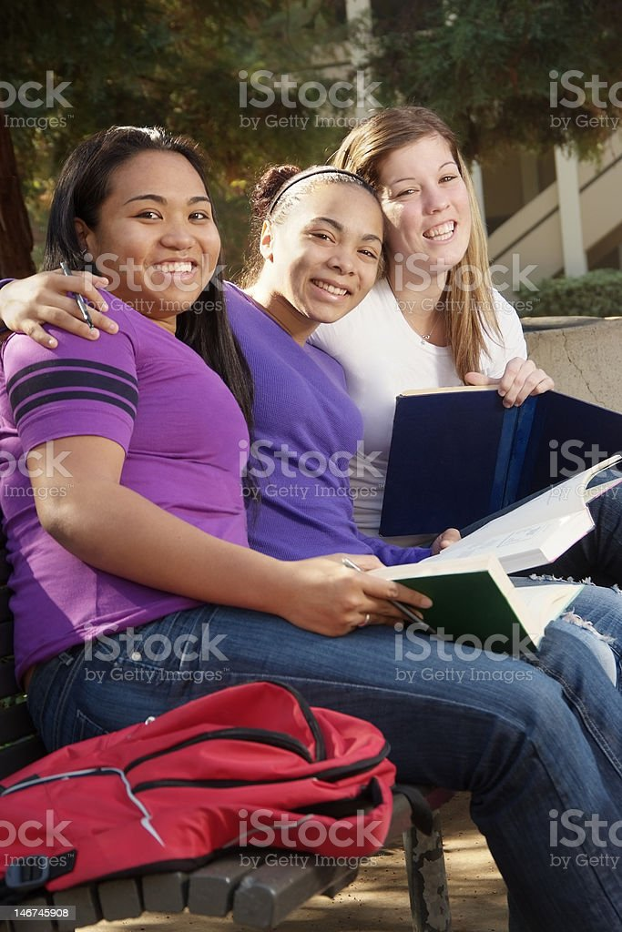 Multi Culture Group of Female High School or College Students. royalty-free stock photo