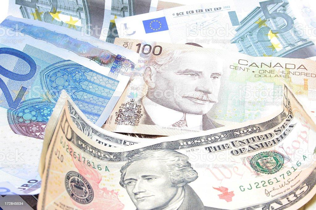 Multi currencies stock photo