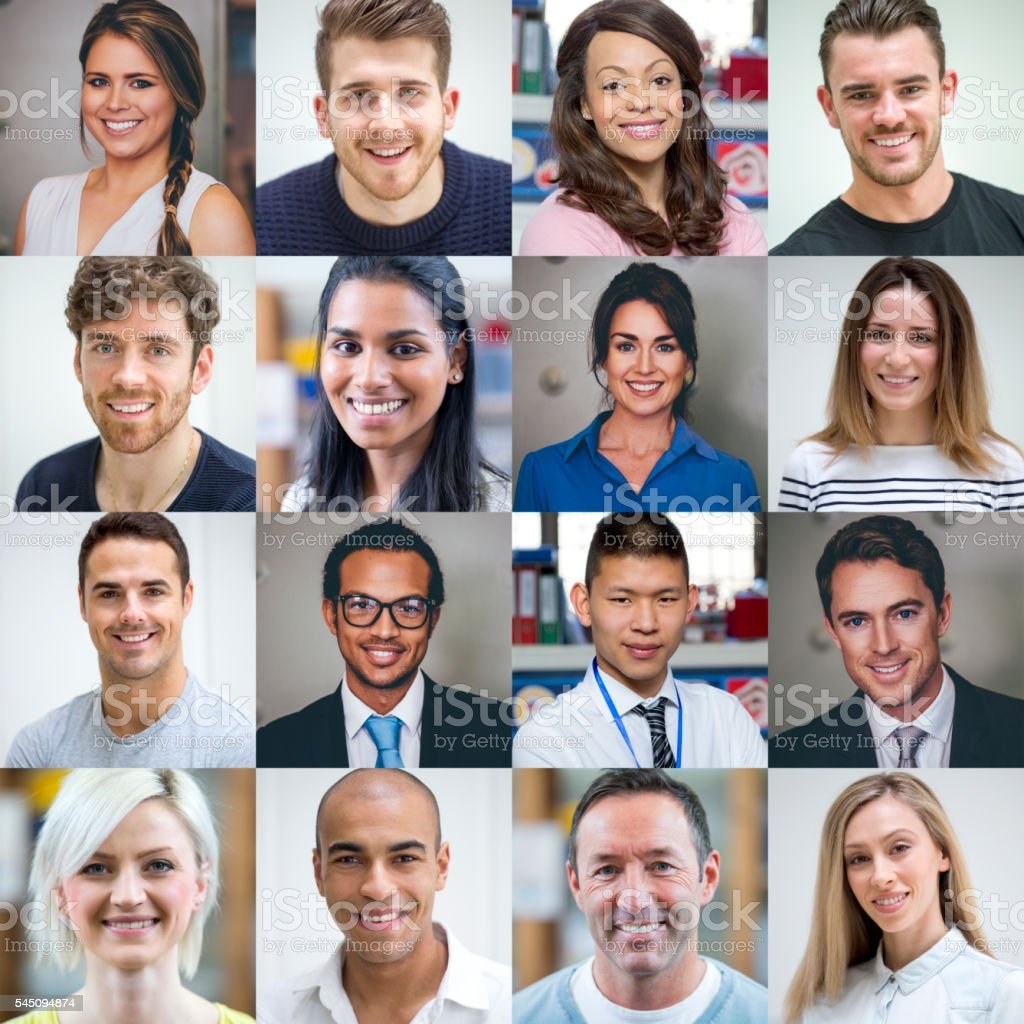 Multi Ethnic Adult Portraits stock photo