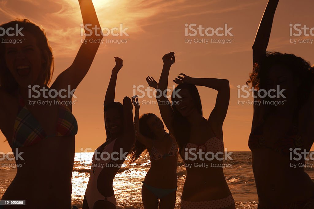 Multi ethnic beach party at sunset royalty-free stock photo