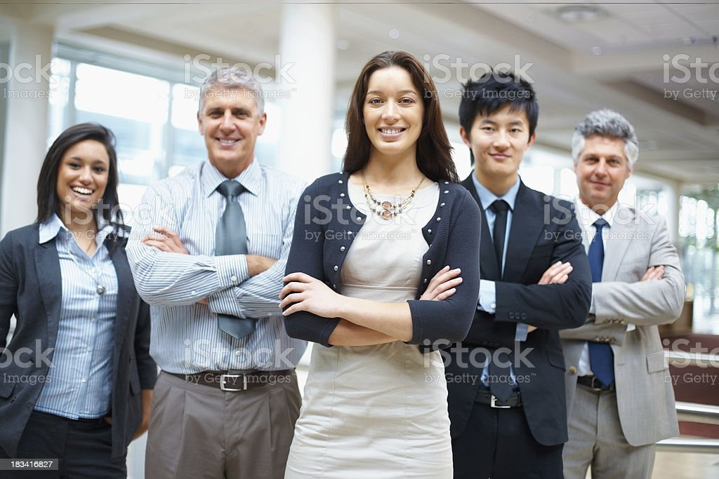 Multi ethnic business people looking at you royalty-free stock photo