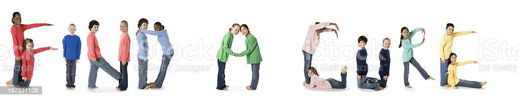 Multi Ethnic Children Spell Find a Cure stock photo
