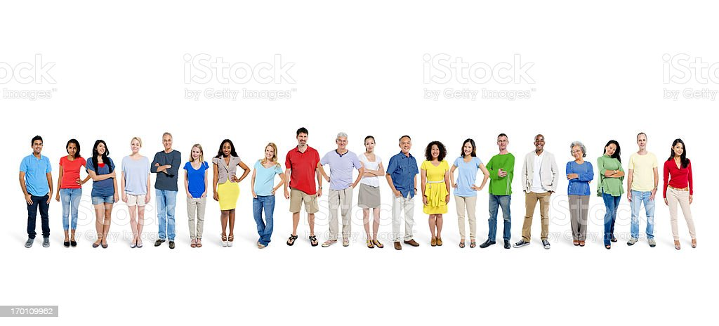 Multi ethnic group of happy people standing together. royalty-free stock photo