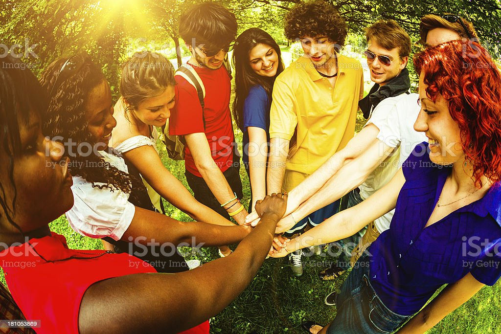 Multi Ethnic Group of Young People, Teamwork Agreement royalty-free stock photo