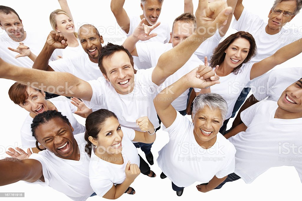 Multi ethnic people cheering royalty-free stock photo