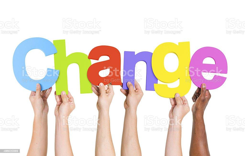 Multi Ethnic People Holding The Word Change stock photo