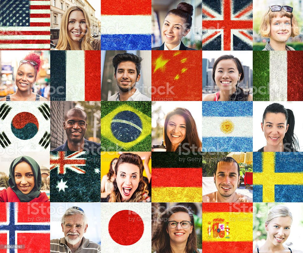 Multi ethnic people portraits and national flags stock photo