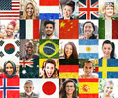Multi ethnic people portraits and national flags