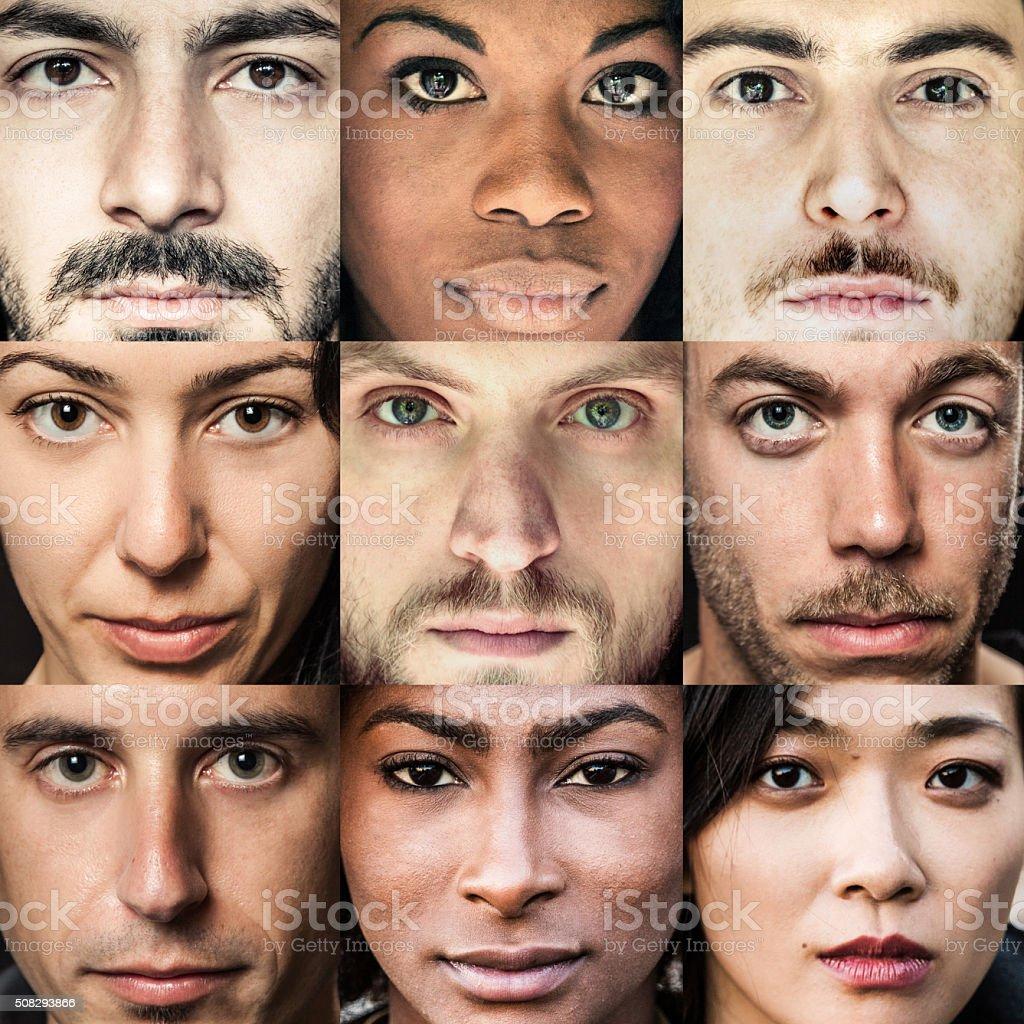 Multi ethnic people portraits stock photo