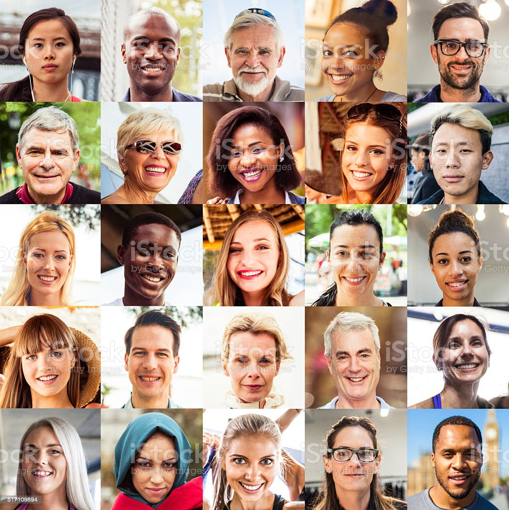 Multi ethnic people portraits stock photo
