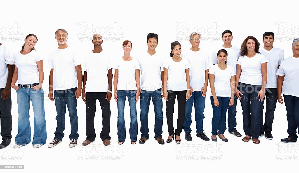Multi ethnic people standing in a row royalty-free stock photo