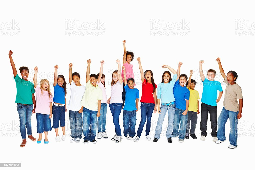 Multi ethnic school children with arms raised royalty-free stock photo
