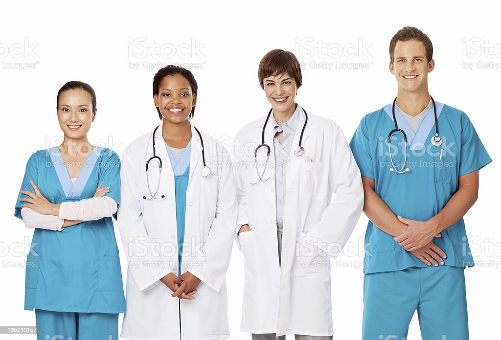 Multi Ethnic Team Of Doctors - Isolated royalty-free stock photo
