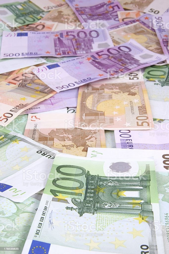 Multi Euro Background 50 100 and 500 bills royalty-free stock photo