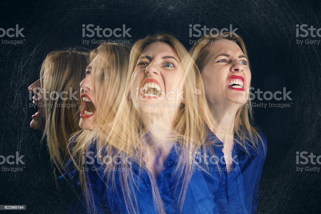 Multi Exposure Screaming Woman stock photo