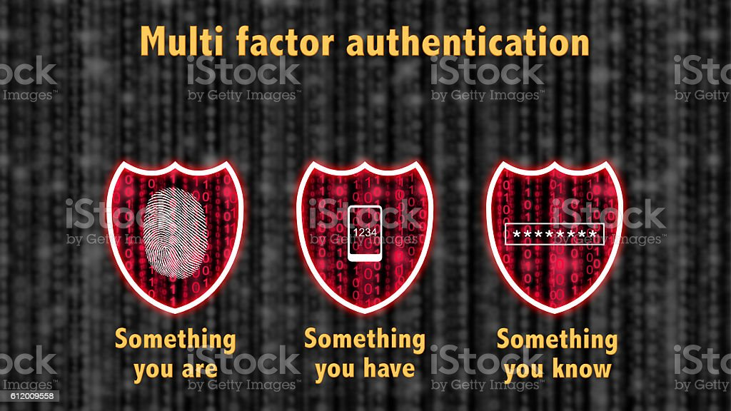 Multi factor authentication shields concept are know and have stock photo