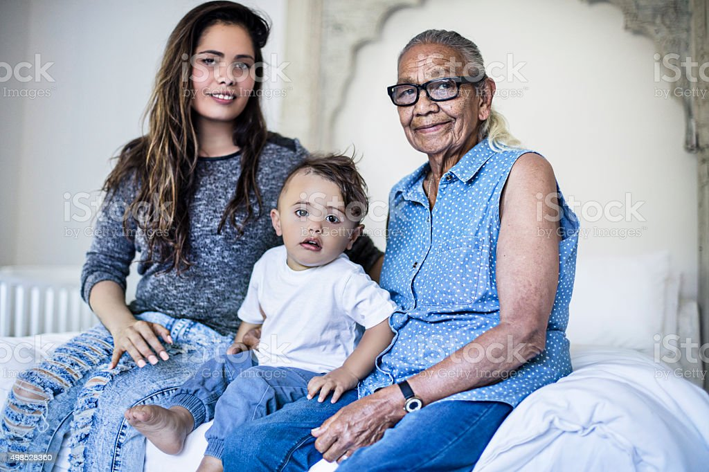 Multi generation aboriginal family stock photo