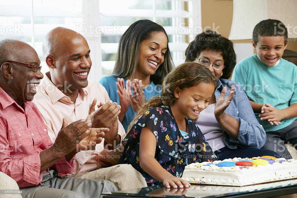 Multi Generation Family Celebrating Daughter's Birthday royalty-free stock photo
