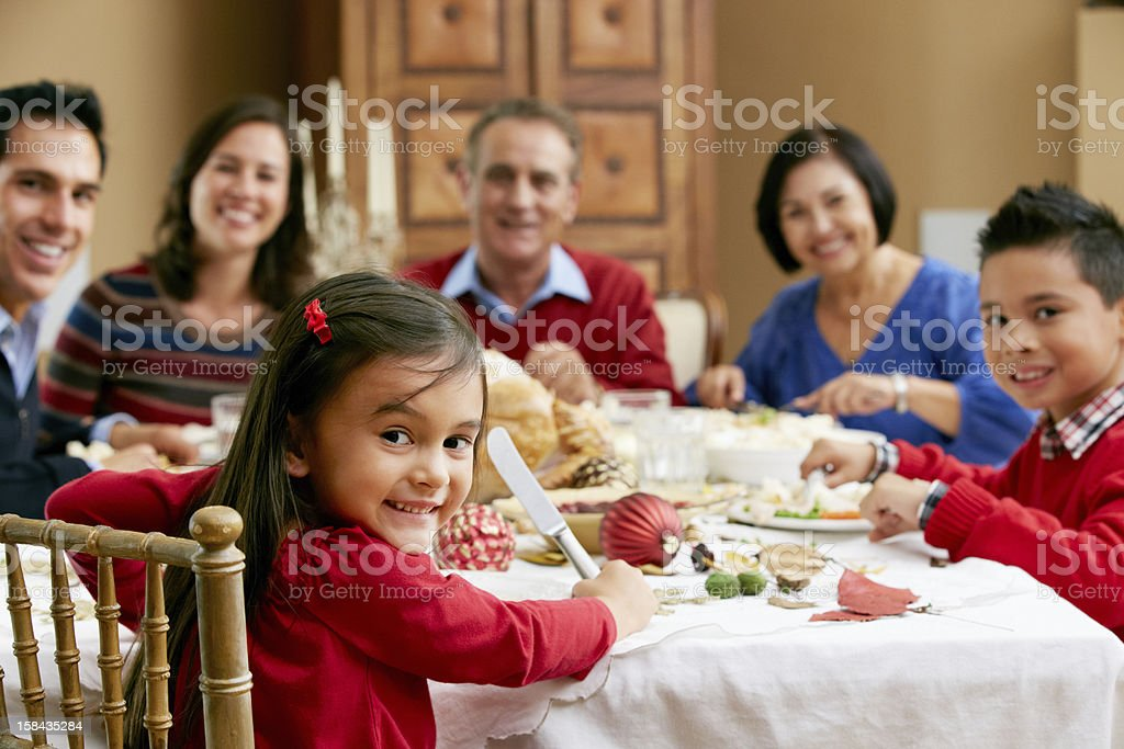 Multi Generation Family Celebrating With Christmas Meal stock photo